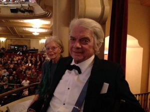 Composer Robert Frost with his wife Kathleen Ryan Frost at a symphony concert.