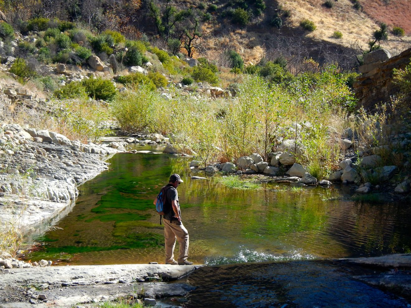A hiker at the Matilija pools above Flat Rock.