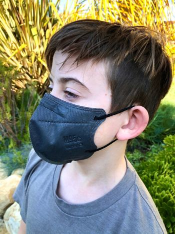 Dr. Dan Brennan's son models a mask created by Lutema that checks all of the CDC boxes for protecting against COVID-19. (Dr. Dan Brennan / Noozhawk photo)
