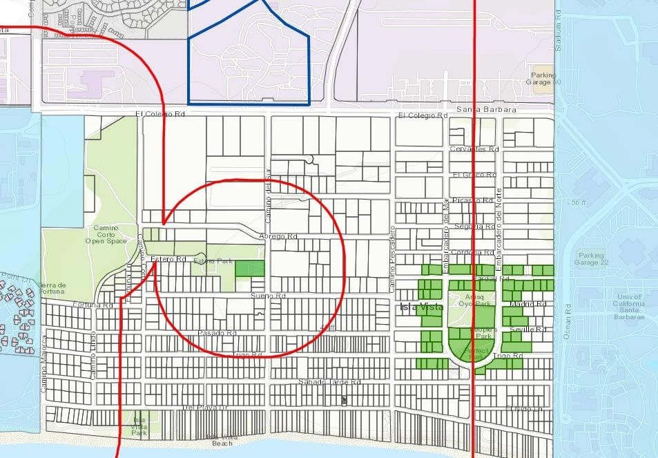 In Isla Vista, shown here, proposed shops are concentrated in the blocks west and north of Anisq'Oyo Park. East of the park is too close to UC Santa Barbara, according to the buffer zones on the county map, in red.