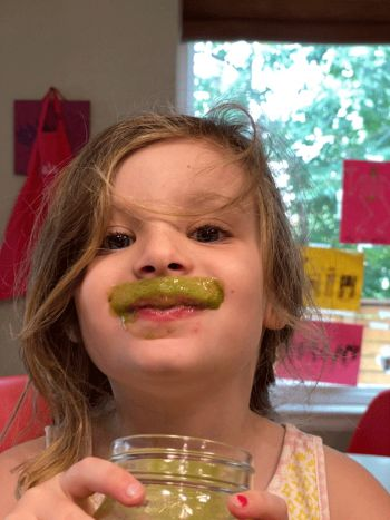 A screenshot of Kaia showing off her smoothie mustache.