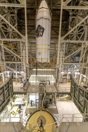 A National Reconnaissance Office payload dubbed NROL-82 is mounted on top of the United Launch Alliance (ULA) Delta IV Heavy rocket.