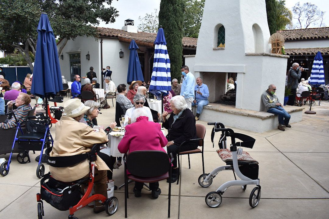 Maravilla senior living community residents gather for an Earth Day celebration in April.