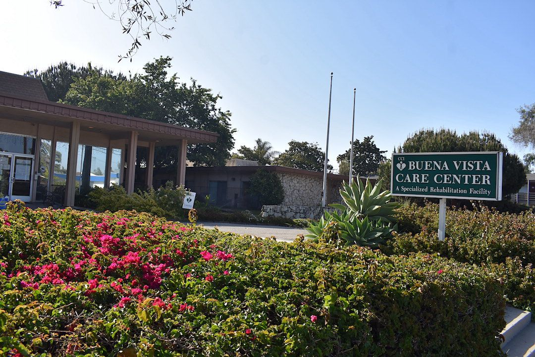 Buena Vista Care Center, located at 160 S. Patterson Ave. in Santa Barbara. Buena Vista reported a large outbreak in December, with more than 70 positive residents and nearly 60 positive workers.