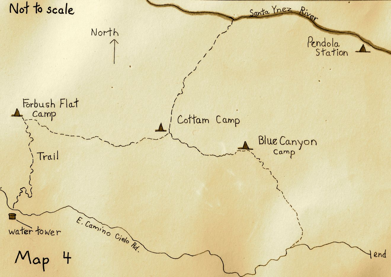 A map of Blue Canyon and East Camino Cielo Road.