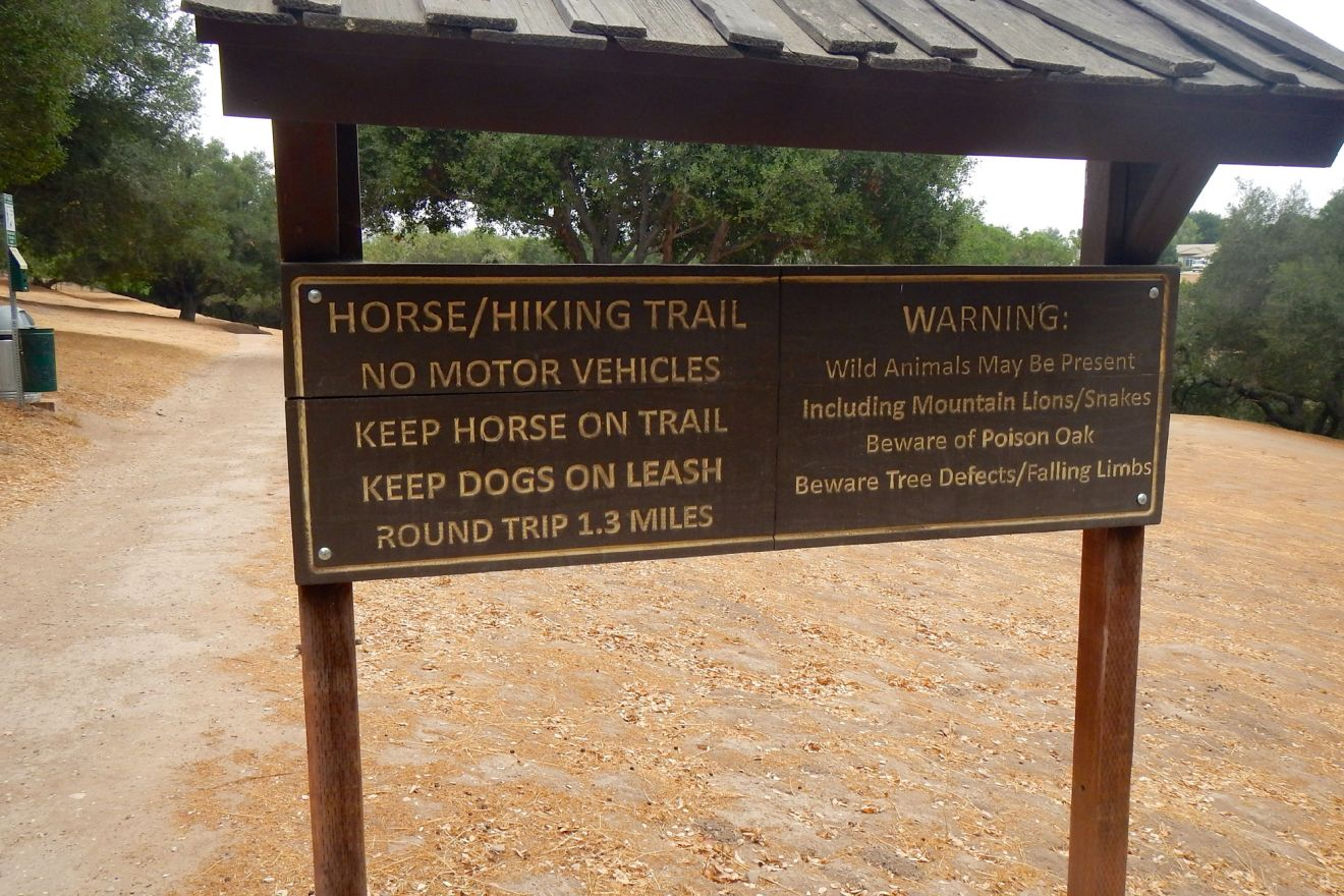 A hiking trail sign in the Hans Christian Andersen park in Solvang.