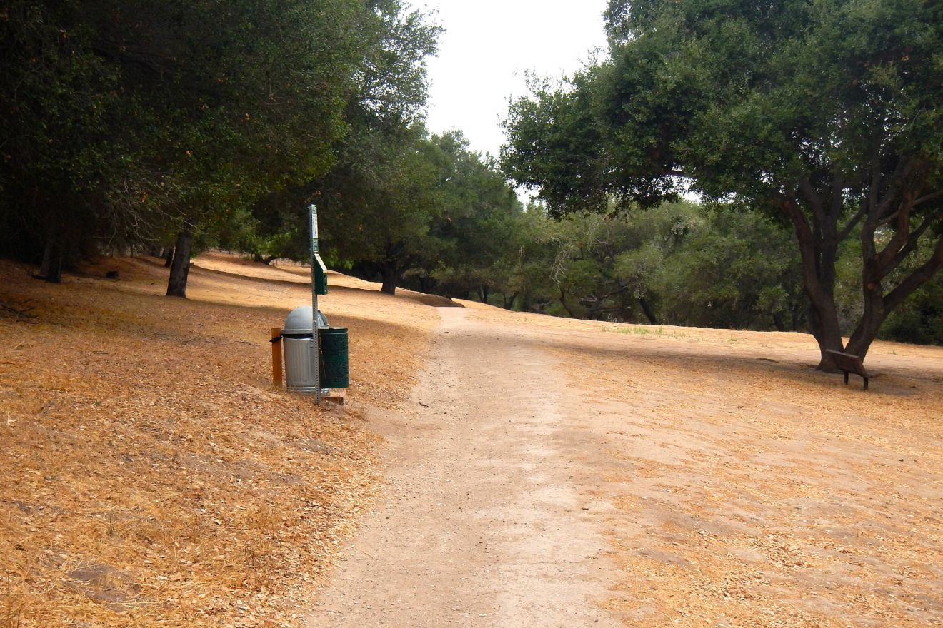 A hiking trail in the Hans Christian Andersen park in Solvang.