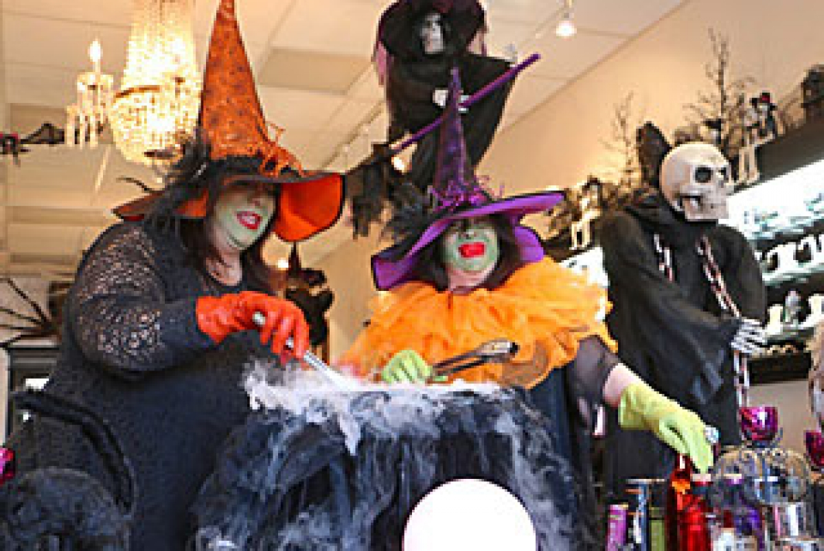 calle real shopping center scaring up treats for kids on halloween