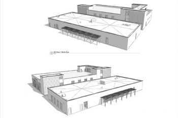 Architect's rendering of new Career Technical Education facility at Dos Pueblos High School.