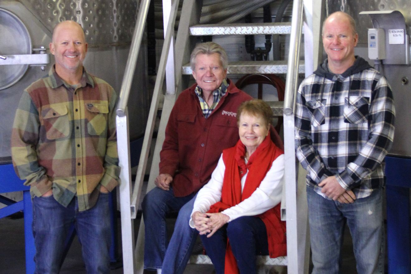 From left, Josh, Nancy, Doug and Jake Beckett. Nancy and Doug founded Peachy Canyon Winery in 1988, and their sons, Josh and Jake, now are the director of viticulture/winemaker and general manager, respectively.
