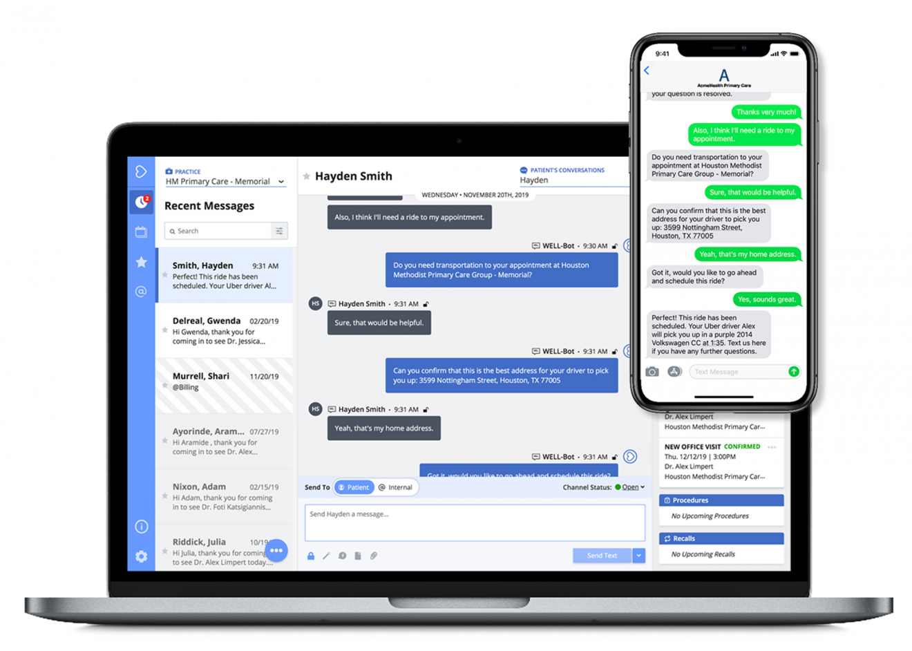 Well Health enables conversations between patients and health care organizations through secure, multilingual messaging.