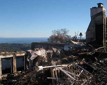 The long view from Mount Calvary is still spectacular but rubble and uncertainty fill the monastery's short-term picture.