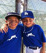Friends and teammates Ethan Frank and Carlos Uribe share a love of baseball.