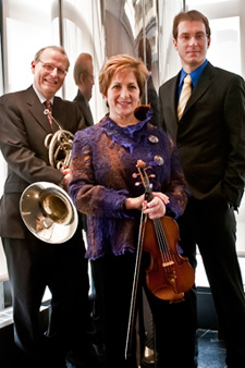 David Jolley, left, Ida Kavafian and Gilles Vonsattel of Trio Valtorna.