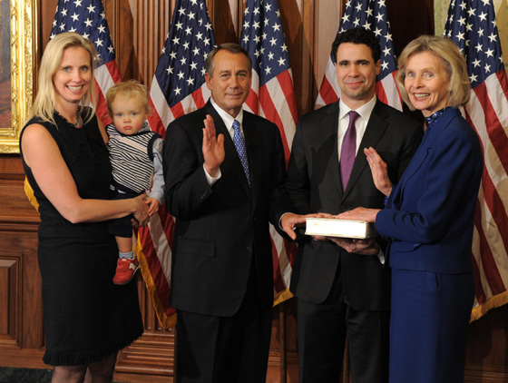 Rep. Lois Capps, D-Santa Barbara, joined by daughter Laura, son-in-law Bill and grandson Oscar, is sworn in Thursday by House Speaker John Boehner as a member of the 113th Congress.