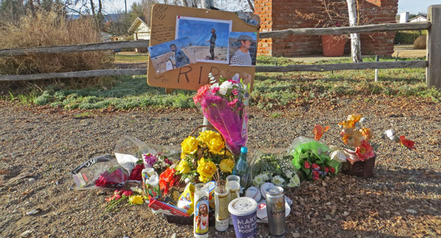 <p>A memorial was created near where Ryuta Yamaguchi, 45, was struck by a vehicle and killed in December while jogging in the Santa Ynez Valley. Santa Barbara County prosecutors say no charges will be filed against the driver, Grace Cota, 89, of Solvang.</p>