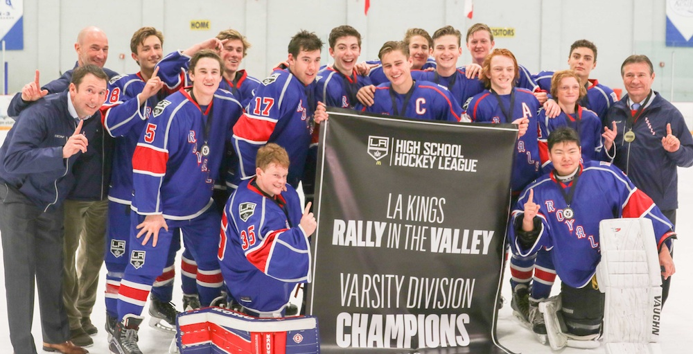 The Santa Barbara Royals celebrate winning the Rally in the Valley ice hockey tournament in Valencia.