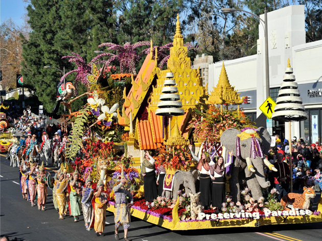 <p>The Preserving Paradise float for the 2012 Rose Parade. Float construction for each Rose Parade begins right after the previous parade ends.</p>