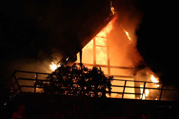 A fire started by a metal chimney stove pipe destroyed a Santa Barbara home early Monday morning.