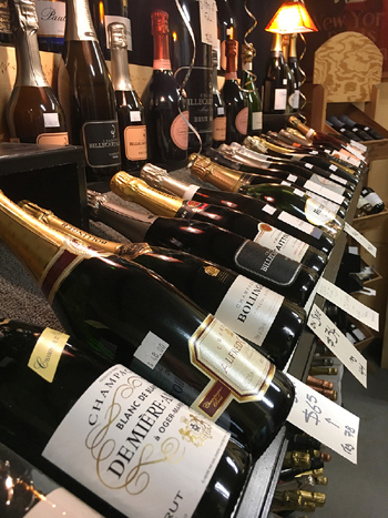 The champagne selection at Renegade Wines features some of the oldest wineries from France.