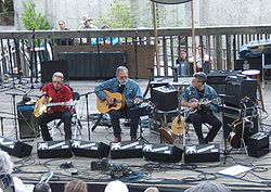 Hot Tuna's Jack Casady, left, Jorma Kaukonen and Barry Mitterhof play at MerleFest in 2006.