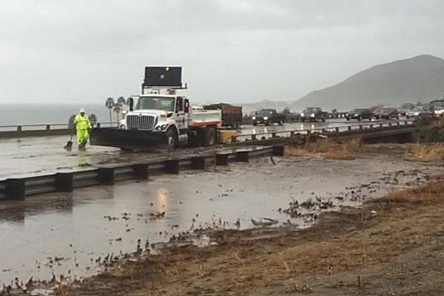 Highway 101 flooding was reported between Carpinteria and Ventura near the Solimar Fire burn area on Jan. 5, and all southbound lanes were closed by Caltrans.