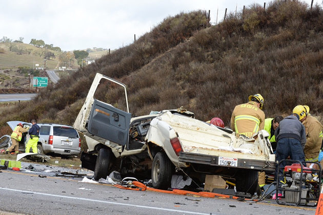 Two men were injured in a vehicle collision on Highway 154 near Los Olivos Tuesday morning.