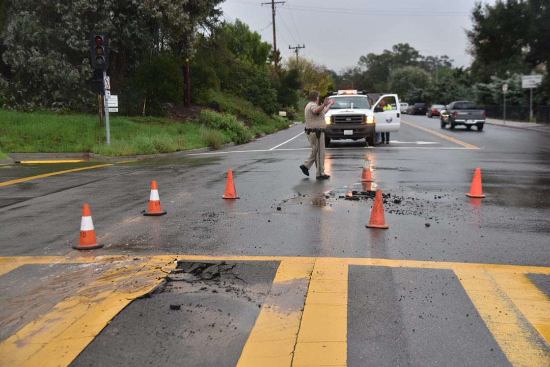Crews responded to make repairs to the roadway and water line at Foothill and Cieneguitas roads Thursday morning.