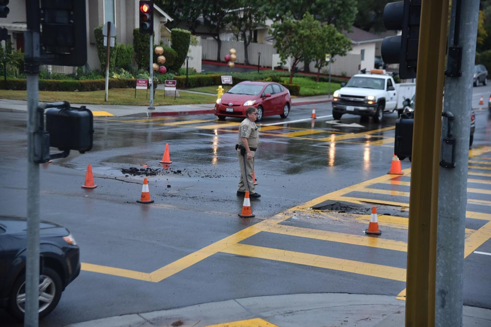 A small sinkhole was reported at Foothill and Cieneguitas roads Thursday morning causing damage to a Goleta Water District line.