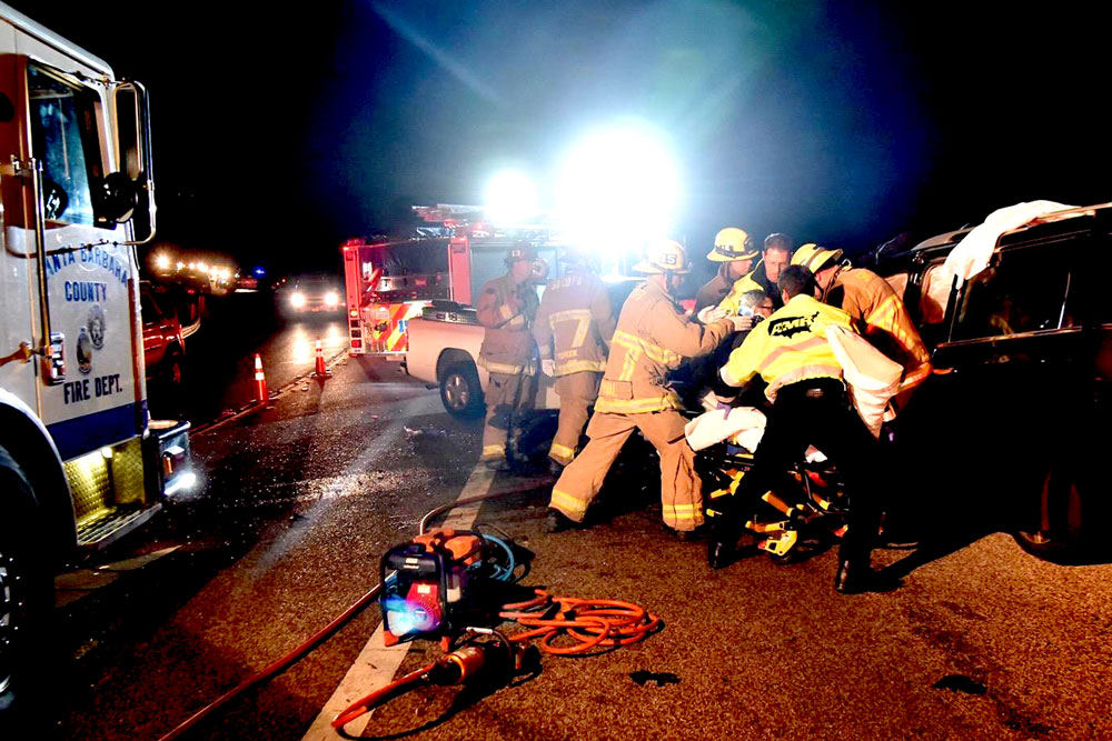Six people were injured late Friday night in a head-on collision on Highway 154 near Painted Cave Road.