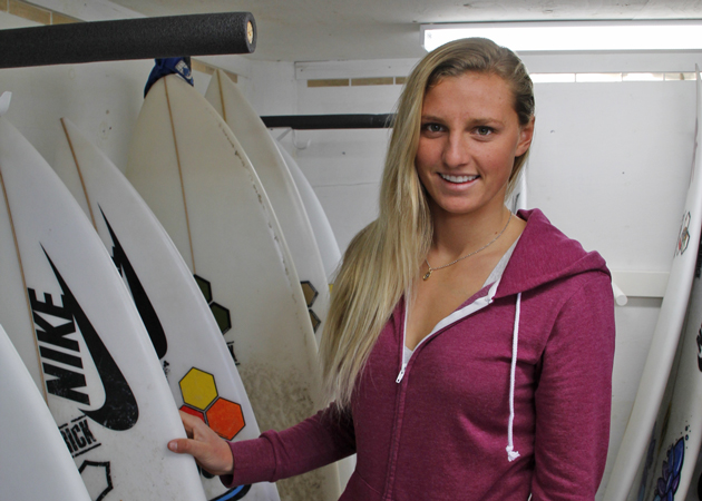 Lakey Peterson has a collection of Channel Island surfboards at her home in Montecito. (Cassidy Flynn / Noozhawk photo)