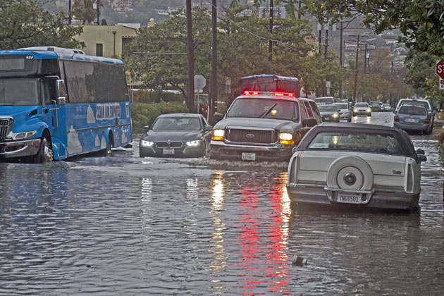 Major flooding was occurring Wednesday at Cota and Laguna streets in downtown Santa Barbara.