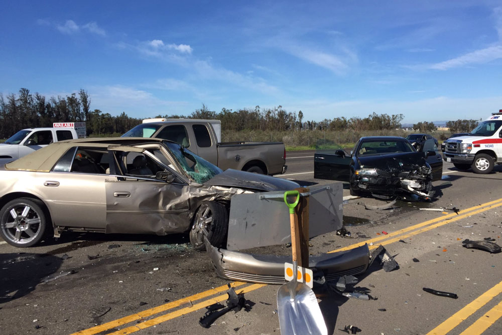 One person sustained minor injuries Friday in a 4-vehicle accident on Highway 135 in Orcutt.