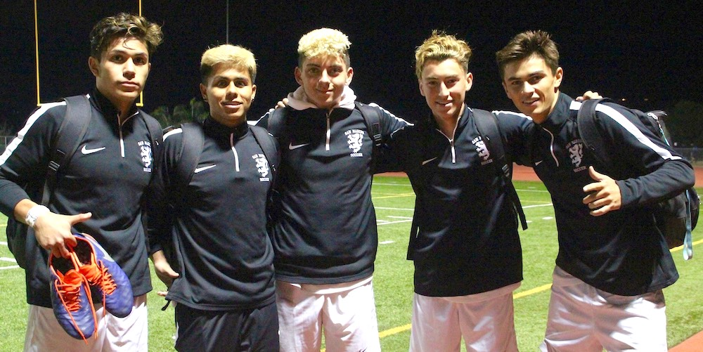 The five players who scored goals for the Royals against Flintridge prep were, from left, Jose Reyes, Tony Garcia, Owen Bates, Skyler Booth and Jonas Romero.