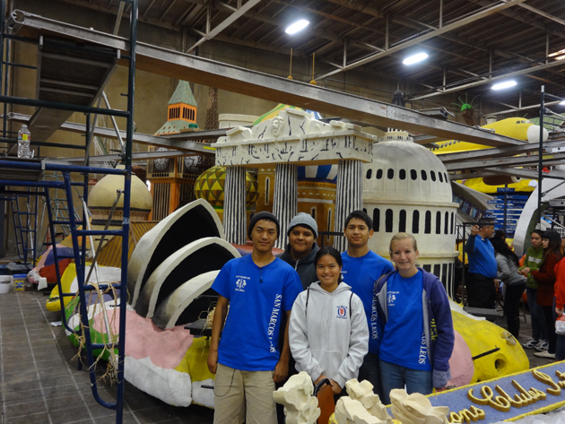 <p>San Marcos High School Leo's Club members, from left, Jason Diep, Gabe Medina, Anmai Brook, front, Raul Rodriguez and Moorea Tait help decorate floats for the Tournament of Roses Parade.</p>