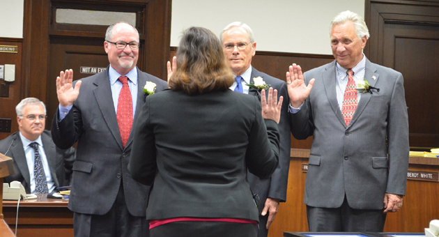 <p>Santa Barbara Councilmen Gregg Hart, left, Bendy White and Frank Hotchkiss take the oath of office Tuesday afternoon.</p>
