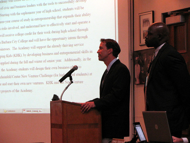 <p>San Marcos High School Principal Ed Behrens and Santa Barbara Unified School District Assistant Superintendent Ben Drati explain the plan for an Entrepreneurship Academy at San Marcos during Tuesday night&#8217;s school board meeting.</p>