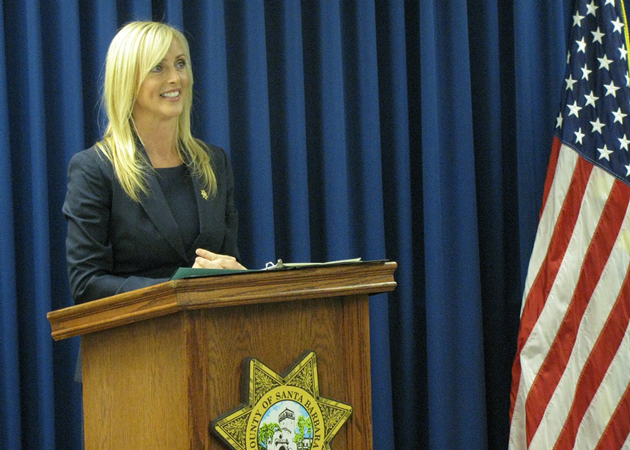 Kelly Hoover, a veteran journalists, was introduced Wednesday as the new public information officer for the Santa Barbara County Sheriff's Department. (Giana Magnoli / Noozhawk photo)
