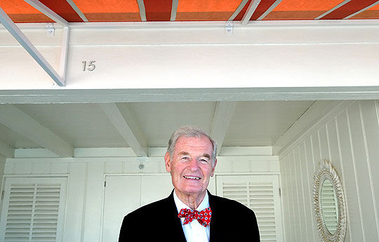 Larry Crandell is right at home at the Coral Casino, where he's had a cabana for decades.