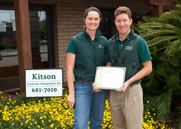 <p>Operations director Sarah Kitson and senior project manager Dave Fudurich of Kitson Landscape Management, at the company&#8217;s headquarters in Goleta, receive the company&#8217;s Green Business Certification from the Green Business Program of Santa Barbara County.</p>