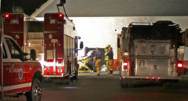 <p>Santa Barbara firefighters were called out early Sunday to rescue a man who had gotten himself struck in a 10-inch-wide space between two walls behind a downtown building.</p>