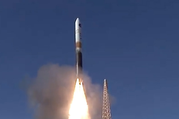 The United Launch Alliance Delta IV rocket launches from Vandenberg Air Force Base on Friday afternoon.