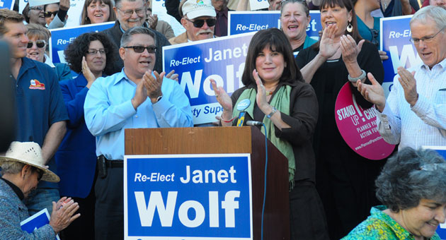 <p>Janet Wolf is surrounded by supporters Monday as she formally announced her bid for a third term on the Santa Barbara County Board of Supervisors.</p>