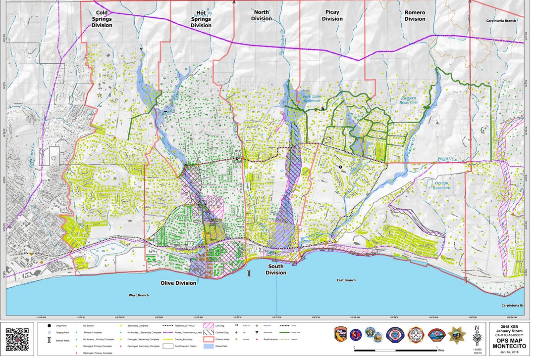 Color-coded operations map details the damage and destruction from the Montecito flooding.