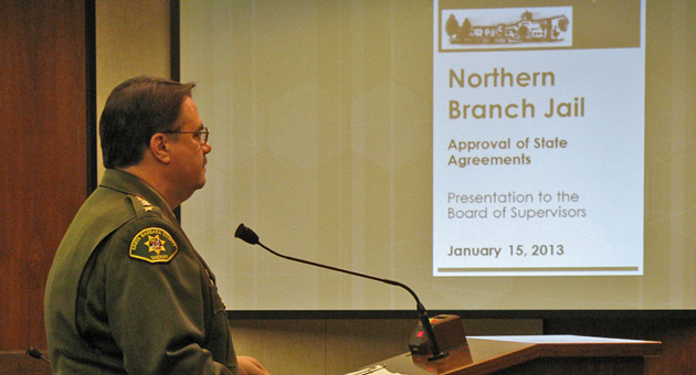 Santa Barbara County Sheriff Bill Brown appeared Tuesday before the Board of Supervisors, which approved agreements with the state outlining planning and financial timelines for the proposed North County Jail. (Giana Magnoli / Noozhawk photo)
