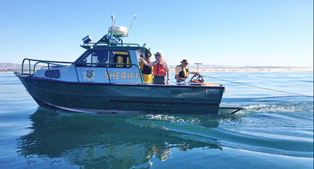 <p>Authorities on a San Luis Obispo County Sheriff&#8217;s Office boat use sonar equipment in the area where a plane went down off the coast of Oceano on Tuesday.</p>