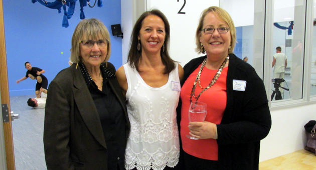 <p>Ginny Brush, left, of the Santa Barbara County Arts Commission, Dana Wallock of the Arts Mentorship Program and board president Jan Hahka attend Thursday night&#8217;s opening reception for the new Performing Arts Center on Cota Street.</p>