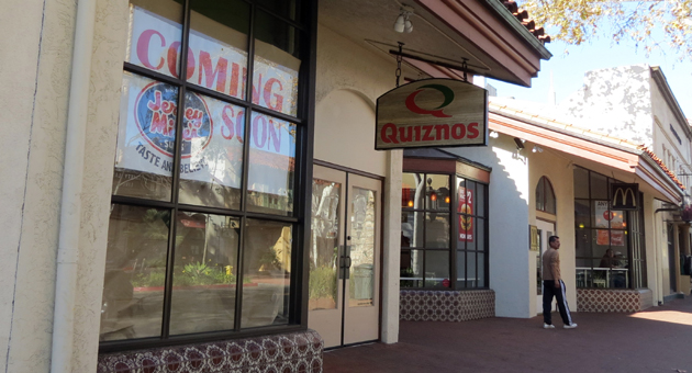 Jersey Mike's Subs is going through the permitting process to move into the former Quizno's Subs shop on State Street in downtown Santa Barbara, with a tentative April opening. (Gina Potthoff / Noozhawk photo)