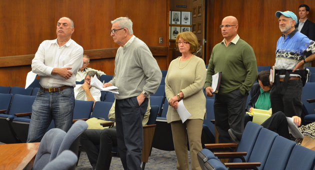 <p>Speakers line up Thursday in Santa Barbara to give remote testimony to the Santa Barbara County Association of Governments board, which was meeting in Santa Maria to decide whether to proceed with the South Coast Highway 101 widening project.</p>