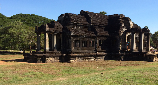 <p>The ancient ruins of Angkor Wat, the palace that anchored the kingdom of Cambodia. The buildings, while in various stages of decay, still show the many designs from ancient times.</p>